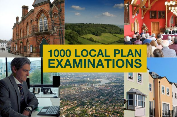 collage of images - town hall, landscape, housing, planning inspectors at events