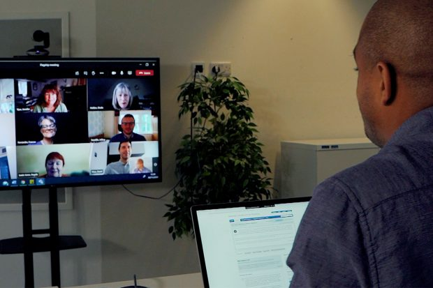 Case officer in a virtual meeting
