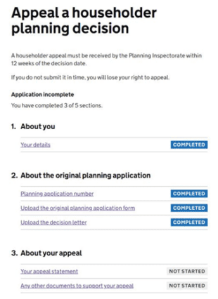 Appeal a householder planning decision screen