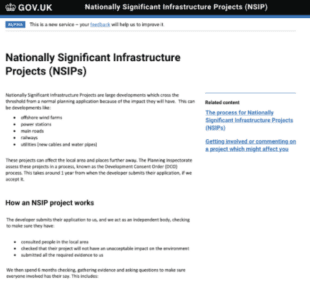 Screenshot of explanation text for nationally significant infrastructure projects